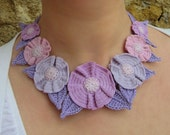 MADE to ORDER - LOUISE - Cotton yarn crochet Necklace, fiber, lavender, lilac, pink, flower, romantic, country, retro, garland, wreath, 3D