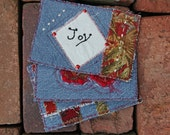 Fabric Postcard Denim Tapestry Embroidery Embellished Applique Free Shipping in the US
