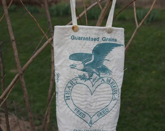 Feed Sack Eagle Tote Heart Cream Teal Ohio Purse