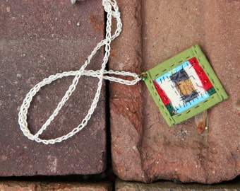 Mini Log Cabin Patchwork Necklace in Olive Green Turquoise Red Cream Free Shipping in the US