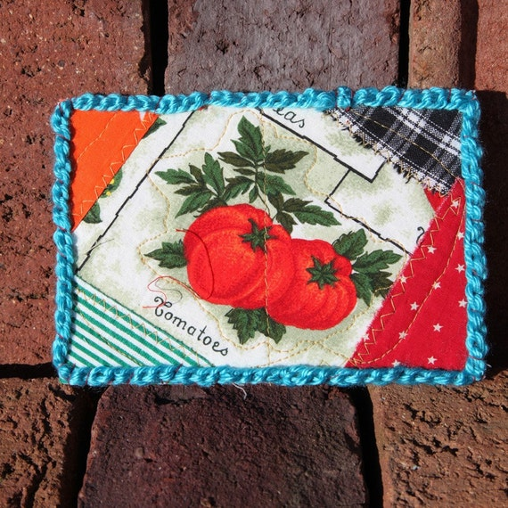 Tomato Seed Packet Fabric Postcard Free Shipping in the United States
