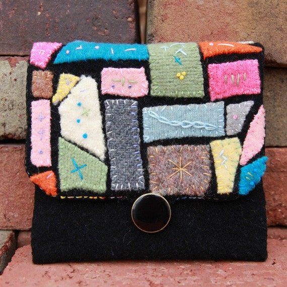 Recycled Mosaic Felted Wool on Black Wool Pouch Handmade Free Shipping in the US