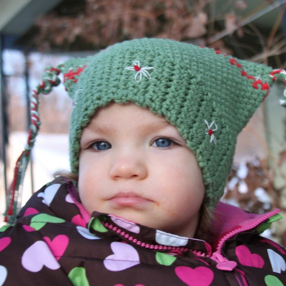 Hand Crocheted Islandic Looking Childs Cap  Free Shipping in the United Statesa