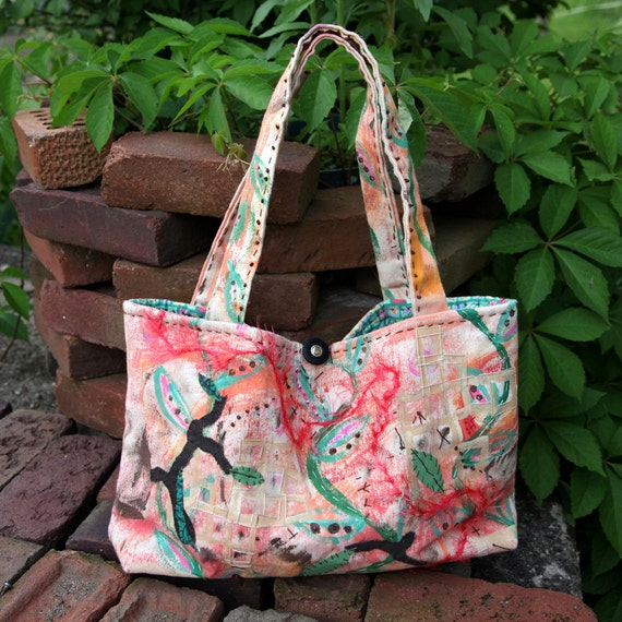 Hand Painted Embroidered Purse Tote with Asian Influence Free Shipping in the US