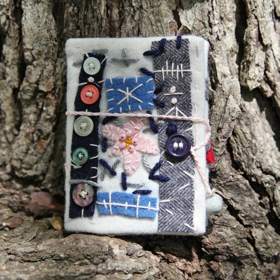 Wool Fiber Journal White Pink Flower Grey Blue Buttons Free Shipping in the US