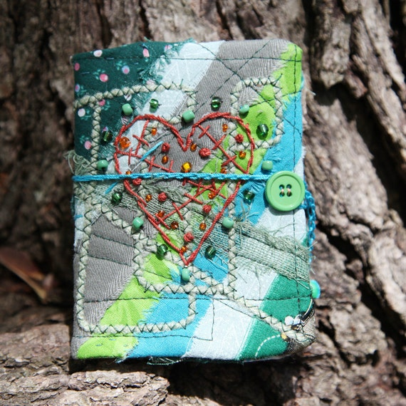 Mini Fabric Journal Notebook Shades of Green Beaded Heart Free shipping in the US
