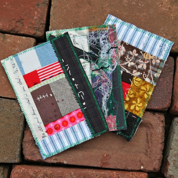 Three Fabric Postcards Patchwork Scripture Embroidered Embellished Free Shipping in the US