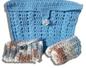 Sea Breeze Crocheted Travel Bath Set