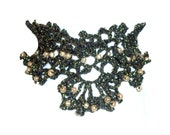 Crocheted Black and Gold Beaded Vintage Style Choker