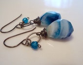 Striped Blue White Chalcedony Drop Earrings on Oxidized Sterling Silver