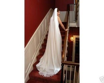 "Chapel length 85"" chiffon bridal wedding long veil new 1t 60"" wide White or Ivory soft sheer flowy"