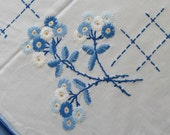 Vintage Blue Embroidered GERMAN ART DECO Tablecloth 1920s