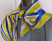 Vintage VERA SILK SCARF blue and yellow by Vera 1960s