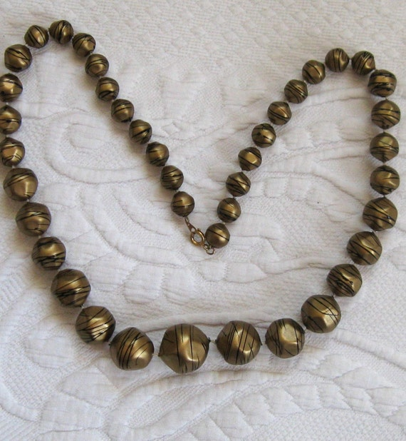 Vintage Black Swirls on Gold  NECKLACE 1960s