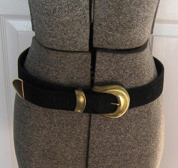 Vintage Tooled black leather belt SALE