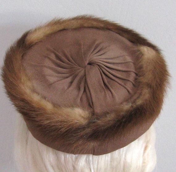 SALE Vintage Mink PILL BOX Hat  by DeMura 1940s