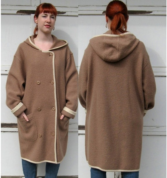 Vintage BOILED WOOL COAT  with Cream Piping early 1990s