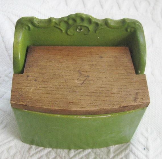 VINTAGE CERAMIC WALL SALT BOX With Wood Lid 1940s By Vintagous