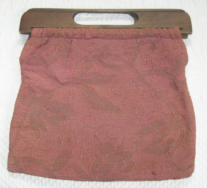 Vintage Knitting Bag : Vintage knitting bag with wood handle s
