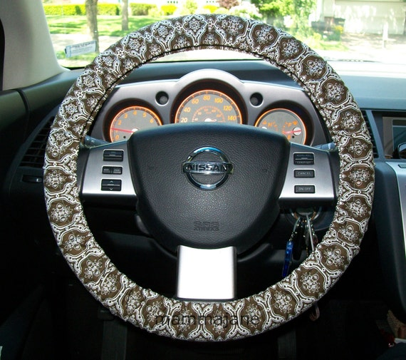Brown and white Damask Steering Wheel Cover