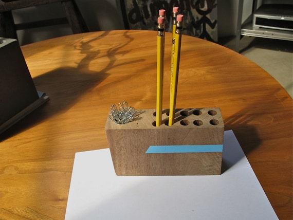 Walnut Desktop Pen Caddy