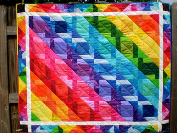 Twin coverlet or lap-Chasing Rainbows 49 inches by 58 inches