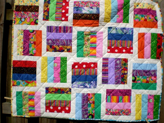 Baby or lap quilt- Tilted Windows