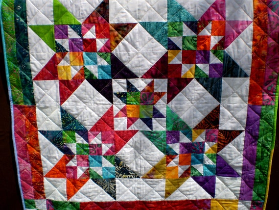 """Baby or lap-Dazzling Scraps 40"""" square"""
