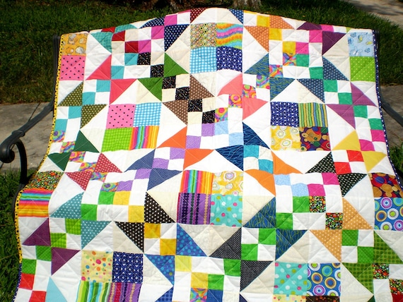 Twin coverlet or lap-Scrap Patch Delight 48 by 60 inches