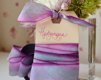 Hydrangea - Hand Dyed Silk Ribbon by Hanah Silk 1 inch wide