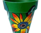 "Go Plant Some Flowers - Sunflower in the Garden  - 6"" Original Hand Painted Terra Cotta Flower Pot"
