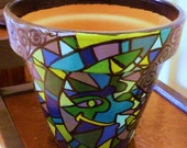 Sun and Moon Painted Mosaic - Original Hand Painted Terracotta Flower Pot - 6 inch