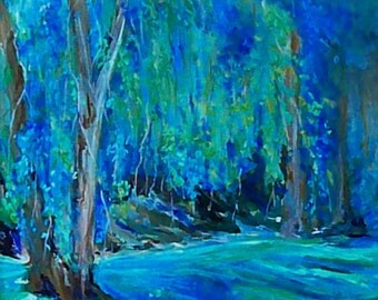 Weeping Willow Tree - Yellow Springs, Ohio - 8 X 10  Reproduction of Original Painting