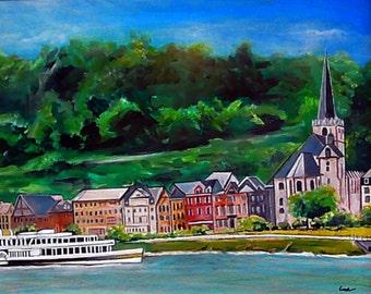 Rhine River (Rhein) Wine Growing Region - 8x10 Reproduction of Original Painting