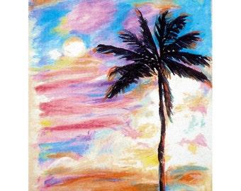 Ocean View - Sunset in Kauai Hawaii - 8x10 Reproduction of Original Oil Pastel