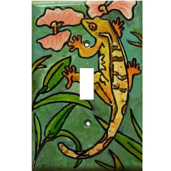 Geckos and Lizard  in Nature - Original Hand Painted Switchplate (Light Cover)
