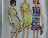 1960's Simplicity 6385 Vintage Sewing Pattern - Slim Fitting, Bottom Ruffle Dress