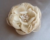 Small Hera Champagne Chiffon Flower with Pearl and Gemstone Beading Hair Clip