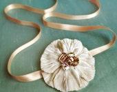Single Multi Way Ivory Velvet Flower Swarovski Shoe Clip in Light Topaz