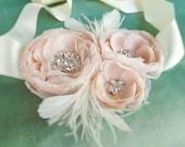Triple Hera Ivory and Blush Gemstone Beaded Feathered Chiffon Flower Sash