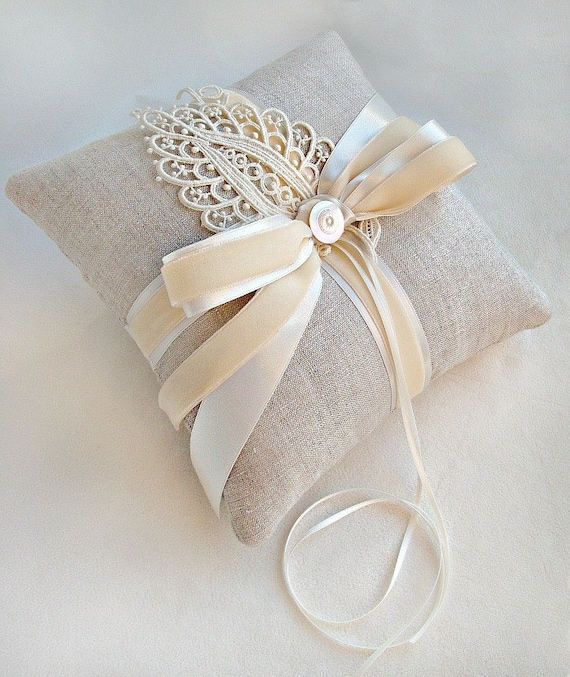 Wheat and Ivory Linen Ring Bearer Pillow with Vintage Lace Leaf Ring Pillow