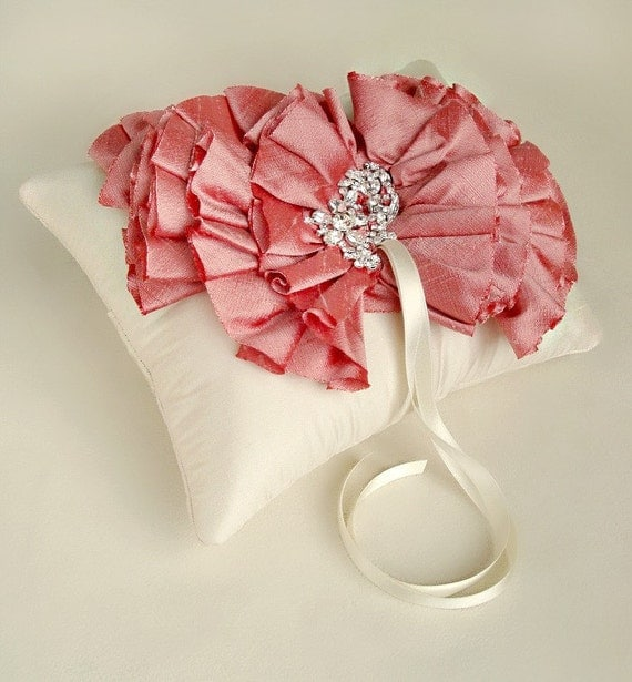 Ivory and Coral Silk Dupioni Ruffle Ring Bearer Pillow