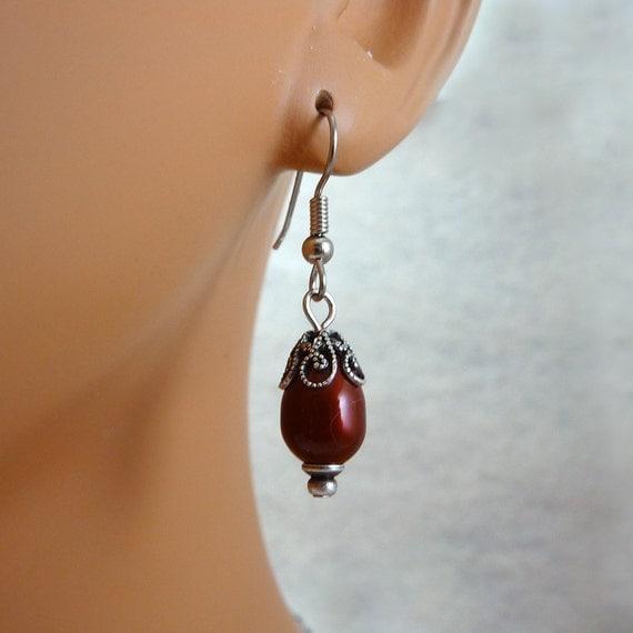 Swarovski Bordeaux Pearl Earrings