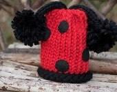 Ladybug Pom Pom Beanie/Hat Newborn-12 Month sizes Photography Prop-Made to order