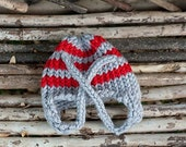 Gray and Red Stripe-Knit Earflap Hat-Toddler sizes-Photography Prop-Made to order