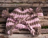 Pink and Taupe Knit Ear Flap Hat-Newborn to 12 month sizes-Great photography prop-Made to order