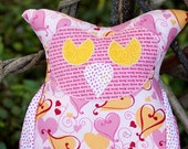 Olivia Owl Pillow-Valentine Hearts and Love Print-Home Decor or Throw Pillow/On- Sale