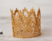 Vintage Inspired Gold Lace Crown/Tiara newborn, baby or child photography prop/birthday accessory/Keepsake