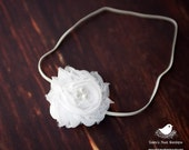 White Shabby Chic flower headband w/pearl bead embellishment baby-adult sizes available-Photography Prop, Spring, Baptism, or Wedding