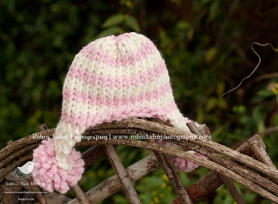 Cream and Light Pink Striped Ear Flap w/pom poms Hat-Newborn-Knit Hat-Great photography prop or Winter/Spring/Easter-Made to order